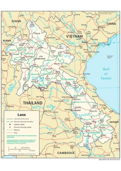 CIA Map of Laos 2003. Print/Poster (5133)